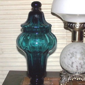 EMPOLI Teal Ribbed Apothocary Jar - Art Glass