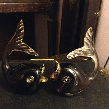 A set of Vintage  Purple Kissing Fish Glass Paper weight