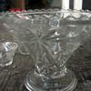 Antique 10 pc Glass Bowl and Mugs Set