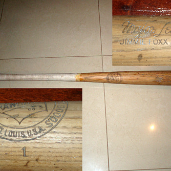 Major League Jimmie Foxx Baseball bat made by Rawlings St Louis U.S.A. Number 1. - Baseball