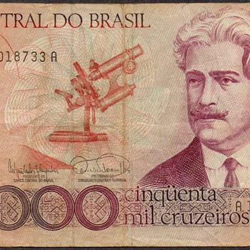 Brazil - (50,000) Cruzeiros Bank Note