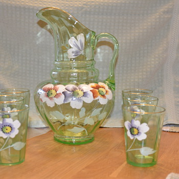 Green handpainted pitcher and glasses
