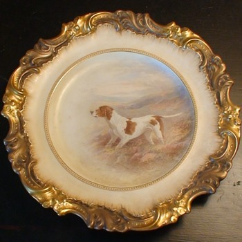 Very Rare Antique Hand-Painted Dog Plate Royal Doulton/Burslem By Henry Mitchell