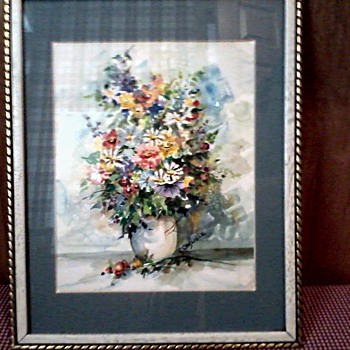 Wonderful Floral Watercolor Matted and Framed / Signed P. Carlisle / Unknown Date - Fine Art