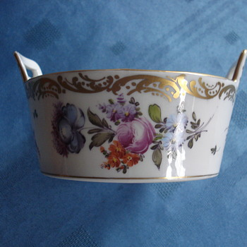 Dresden flowers Hand painted over a T & V Limoges butter tube blank