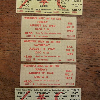 Woodstock 1969, Tickets, Complete Set - Paper