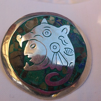 Taxco sterling brooch with stone inlays  inspired by Codex Zouche-Nuttall