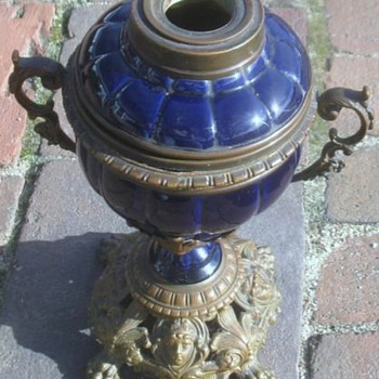 Pottery, brass and bronze Kosmos? lamp
