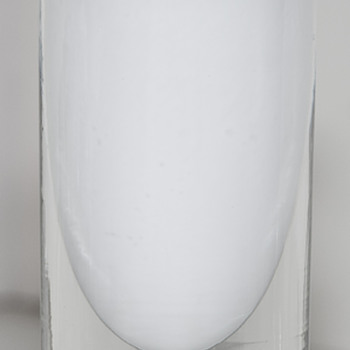 White Art Glass Bud Vase with unique signature - Art Glass
