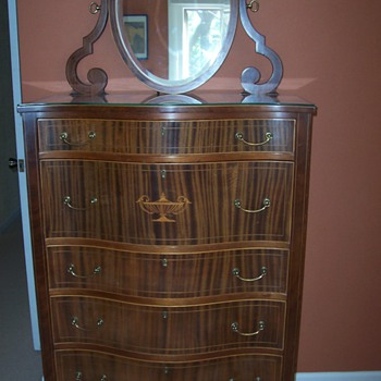Antique Tiger Oak Dresser and Vanity - Furniture