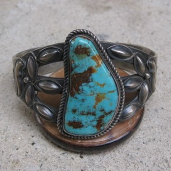 Turquoise cuff bracelet marked K S Sterling: Kirk Smith RIP 2012 - Fine Jewelry