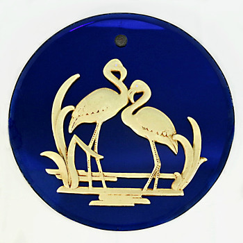 Small 12 Inch (30.48 cm) Round Rare Flamingo Mirror - Art Deco