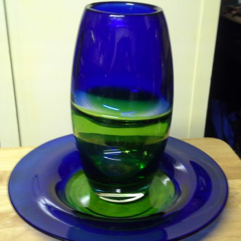 Dansk Vase and underplate - Art Glass