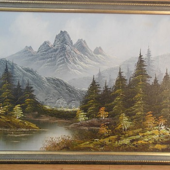 Mountain, River and Forest Landscape oil painting - signed ANDERSON - Visual Art
