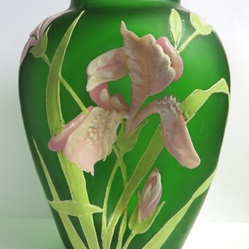 Carl Goldberg Enameled Iris Vase - Art Glass