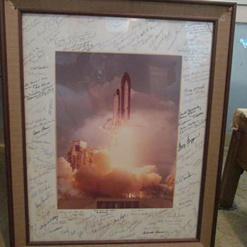 Challenger Space shuttle launch photo signed by NASA employees