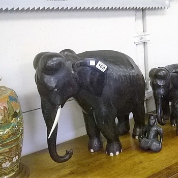 Extremely heavy antique ebony elephant with ivory tusks (1 of 5)
