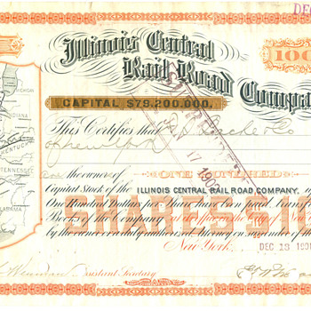 Illinois Central Railroad Stock Certificate--1901 - Railroadiana