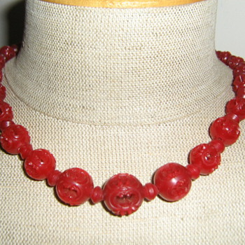 Red carved necklace - celluloid? - Costume Jewelry