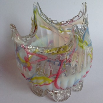 Victorian Peloton opalescent glass bowl with peaked top & applied feet - Art Glass