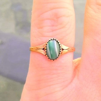Agate/malachite? 10k yellow gold ring - Fine Jewelry