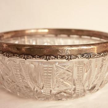 Lead Crystal Bowl with Sterling Silver Rim (American Brilliant Cut Glass) - Glassware