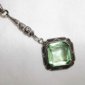 Vintage Sterling Necklace ~ Victorian? Art Deco? Emerald?  - Fine Jewelry