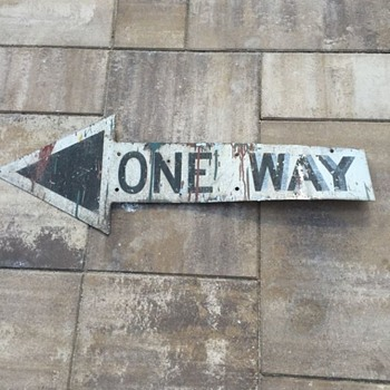 "Rescued 1950s ""ONE WAY"" arrow from Brooklyn, New York"