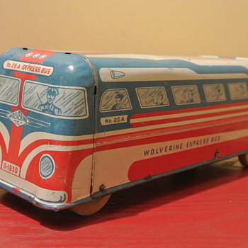 Vintage 1950 Tin Wolverine Express Bus w/ Wood Wheels - Toys