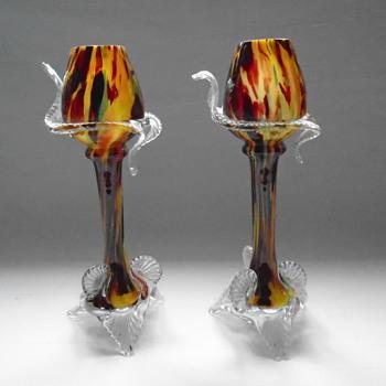 Bohemiam Welz Goblet Vases