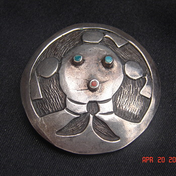 Native American Silver Brooch - Native American