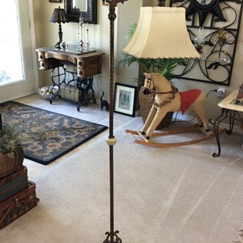 Vintage bridge lamp  Art Deco or Victorian floor lamp cast iron