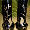 KRALIK BLACK/AMETHYST PAIR OF VASES
