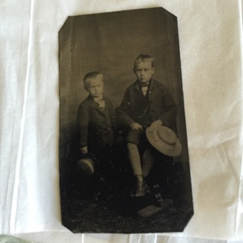 Tintype Two Glum Looking Boys, 1870-80