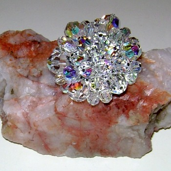 Aurora Borealis Crystal Brooch - Costume Jewelry