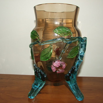 Harrach Bronzed Glass Vase with Applied Flowers & Blue Feet