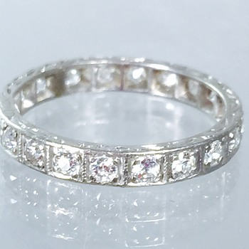Art Deco Diamond Etched Platinum Eternity Ring