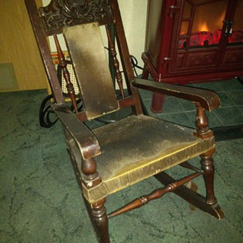 Old animal hide rocker