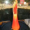 orange molded and blown slag glass vase