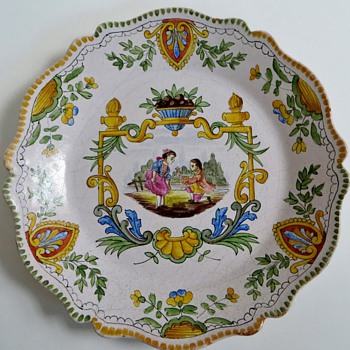 Beautiful Plate, Italian? New or Old? Very Nice Handpainted Design~Signed  EF - Pottery
