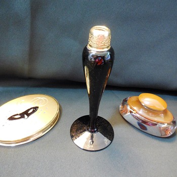 Vintage De Vilbiss Perfume Bottle Missing Atomizer, Dorothy Gray Compact, and Monet Mirror