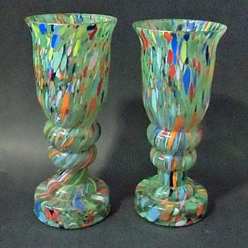 Czech Glass Rückl/Kralik Question 2: Green Multi Spatter Decor Pair Vases - Art Glass