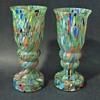 Czech Glass Rückl/Kralik Question 2: Green Multi Spatter Decor Pair Vases