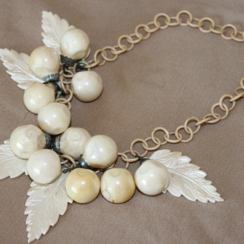 Celluloid Cluster Necklace with Leaves and Balls - Costume Jewelry