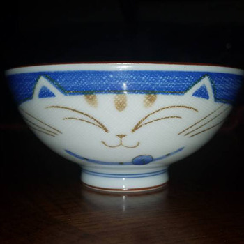 Smiling Blue Cat Porcelain noodle bowl - Asian