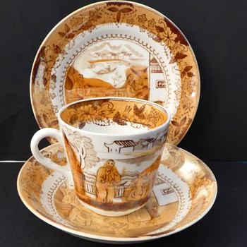 Antique Cup & Saucer, Lustre china, late Victorian.