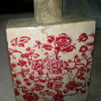 Large Square Old Asian ? Vase