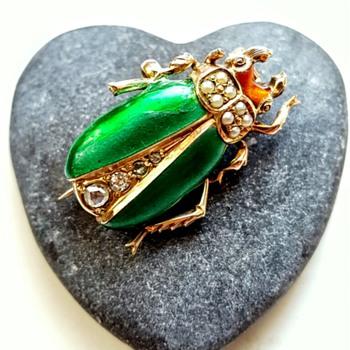 Antique 14k enamel beetle watch pin.