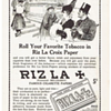 1917 RIZ LA ROLLING PAPERS.  PLEASE  ENLARGE TO READ. MADE FROM FLAX LINEN!