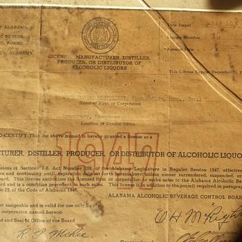 1947 Jack Daniels Dist Liqour License